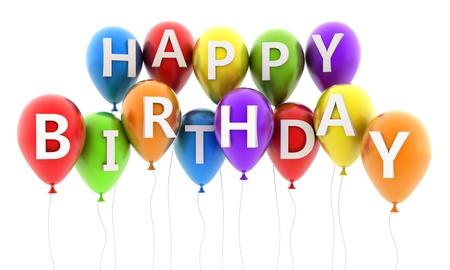 globos de cumpleaños: Balón de Oro volar y el cumpleaños de la nota (hecho en 3d) Foto de archivo