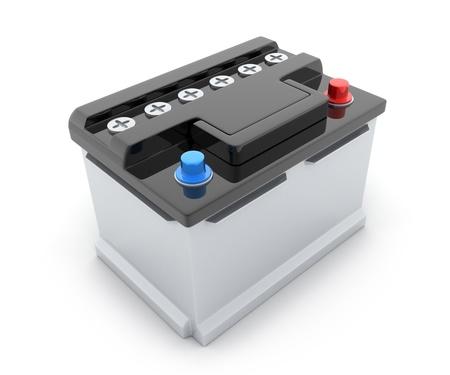 piles: Batterie de voiture sur fond blanc (fait en 3d) Banque d'images