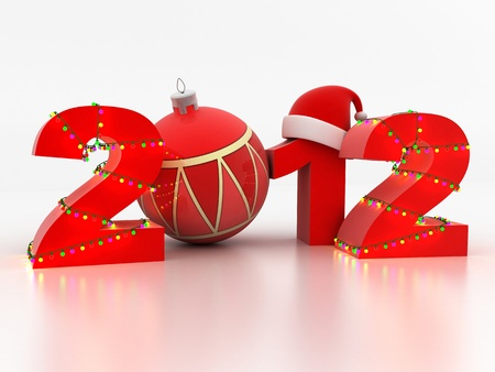 Abstract new year (done in 3d, white background) Stock Photo - 11282135
