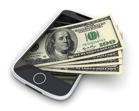 argent: T�l�phone et argent sur fond blanc (fait en 3d)
