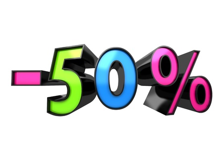 abatement: Multicolour Discount 40% (isolated, done in 3d)