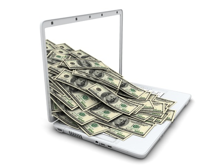 money transfer: White laptop and money (done in 3d)