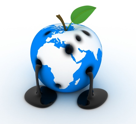 contamination: Abstract Apple-earth, sign ecology (done in 3d)