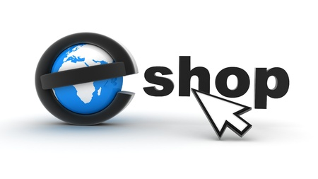 Symbol e-shop on white background (done in 3d)  photo