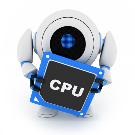 robotic: Robot and CPU (done in 3d, cgi)  Stock Photo