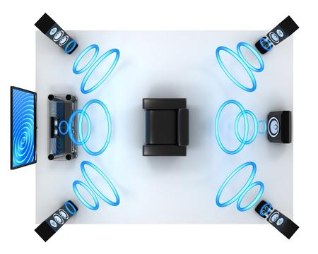 equipo de sonido: Home-cine moderno (hecho en 3d, aislado)