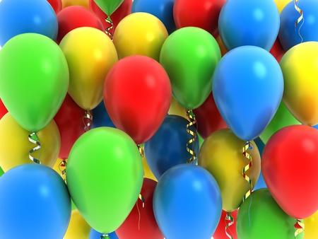 ballons: Ballon fly, various colour (done in 3d)   Stock Photo