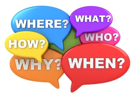 answer question: Molte domande astratte (fatto in 3d, sfondo bianco)