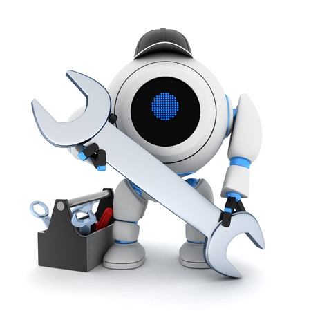 riparatore: Lavoratore robot su sfondo bianco (fatto in 3d)
