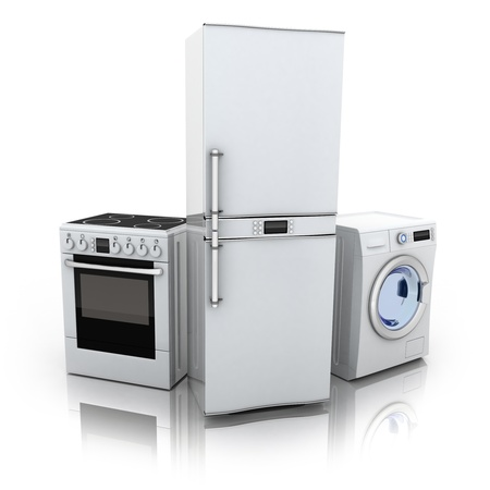Consumer electronics.Fridge,washer and electric-cooker (done in 3d) photo