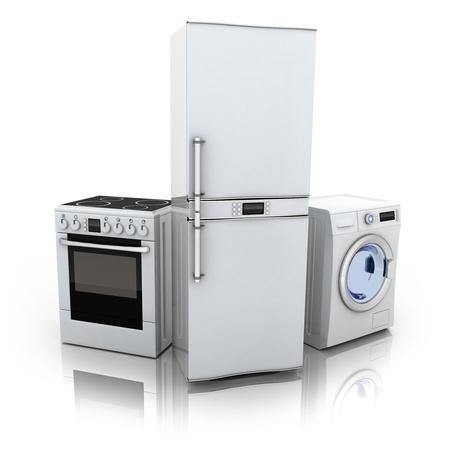 lavadora con ropa: Consumidor electronics.Fridge, lavadora y cocina eléctrica (hecho en 3d) Foto de archivo