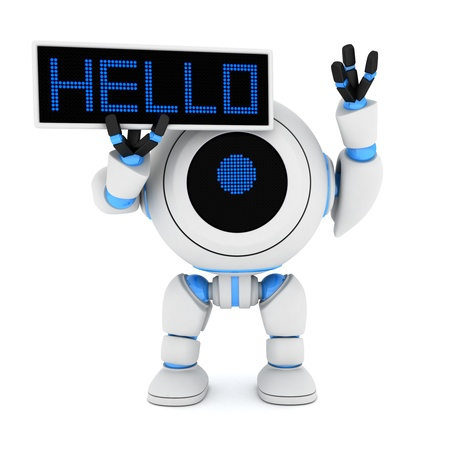 salutation: Robot and plate hello (done in 3d)