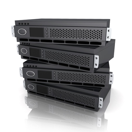 racks: Four server unit (done in 3d, white background)