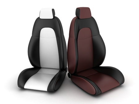 asiento coche: Dos asiento del conductor (hecho en 3d) Foto de archivo