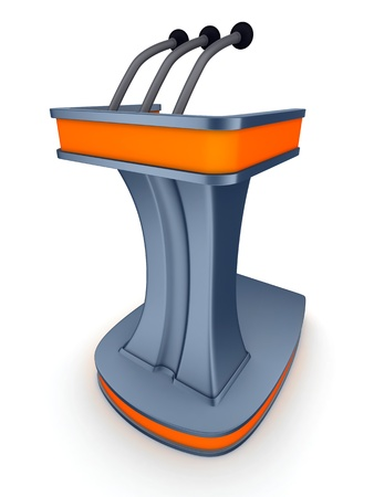 election debate: Podium vote (done in 3d, blue-orange)
