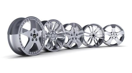 Cinque dischi auto su uno sfondo bianco (fatto in 3d)
