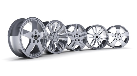 rims: Five car disc on a white background (done in 3d)     Stock Photo
