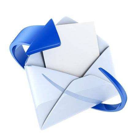 telegrama: Blue e-mail en el fondo aislado (hecho en 3d)