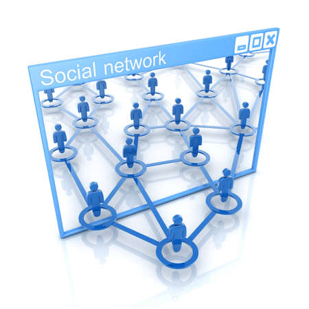 linked: Abstract social network on white background (done in 3d)  Stock Photo