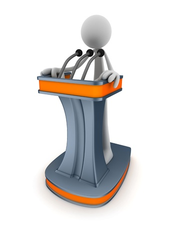 Abstract podium and men (done in 3d)  Stock Photo