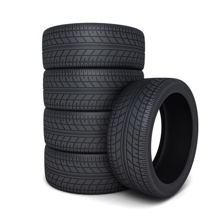 흰색 배경에 타이어 자동차 (수행 3D) 스톡 콘텐츠