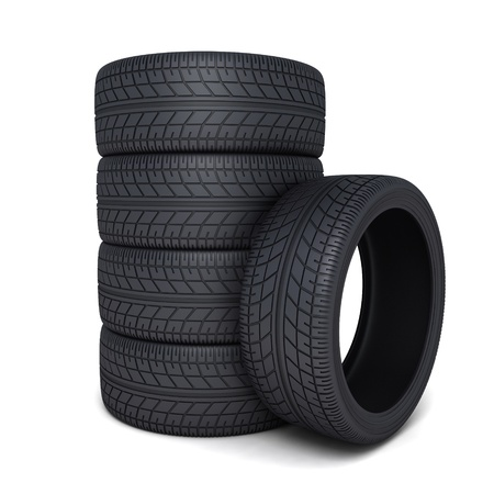 Tire car on white background (done 3d) photo