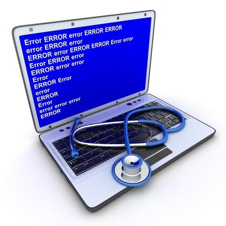 virus informatico: Portátil de error y un estetoscopio hace en 3d