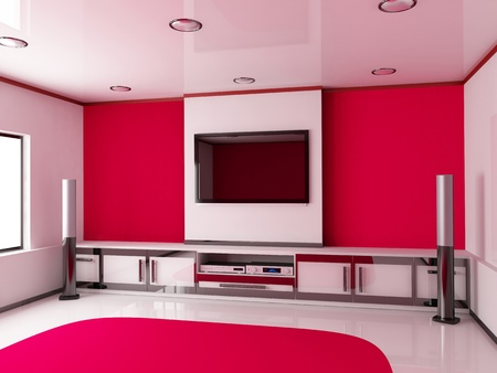 Design modern red room  done 3d  photo