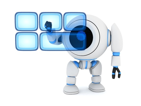 Robot and buttons hologram  done in 3d  Stock Photo - 13005868