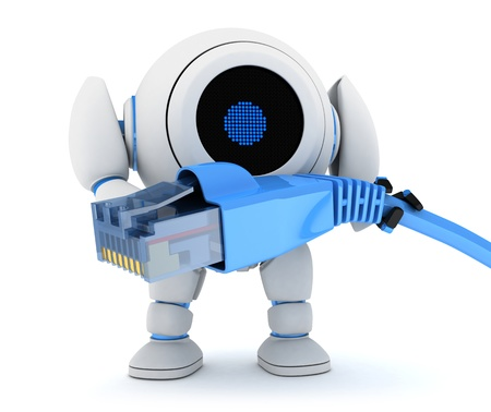 hook up: Robot and net cable  done in 3d  Stock Photo