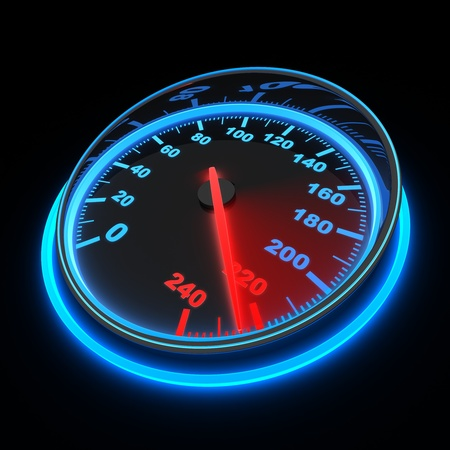 speeding: speedometer and arrow on 220  done in 3d