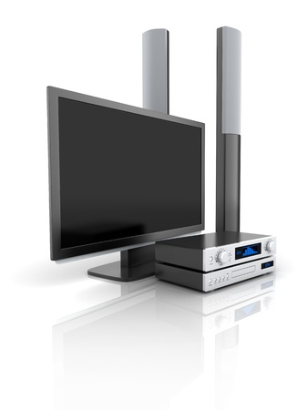 TV and audio system  done in 3d  Stock Photo