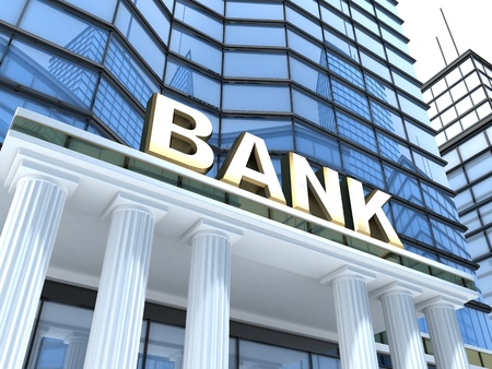 bank notes: Building and sign bank (done in 3d)  Stock Photo