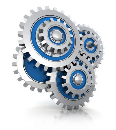 gearing: Four abstract gears (on white background, done in 3d)
