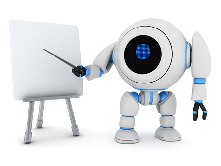 Robot e-learning (done in 3d, on white background) Stock Photo - 13121200