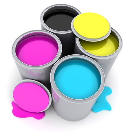 rgb: Paint CMYK on white background (done in 3d)