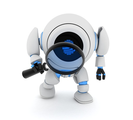 retrieve: Robot and lens on white background (done in 3d)  Stock Photo