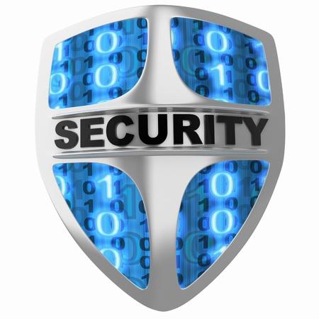 guarda de seguridad: Escudo de seguridad (hecho en 3d, aislado) Foto de archivo