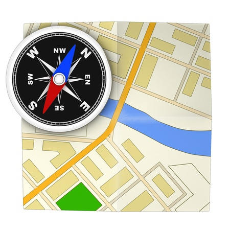 Compass and map  done in 3d, isolated  photo