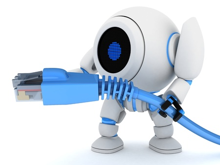 link up: Robot and net cable  done in 3d   Stock Photo