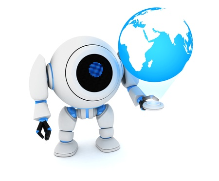 Robot and hologram earth  done in 3d Stock Photo - 14274907