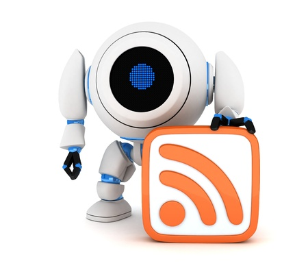 Robot and symbol RSS  done in 3d Stock Photo - 14662315
