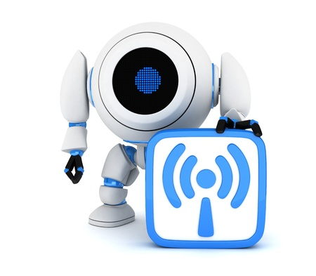 Robot and symbol Wi-Fi  done in 3d  photo