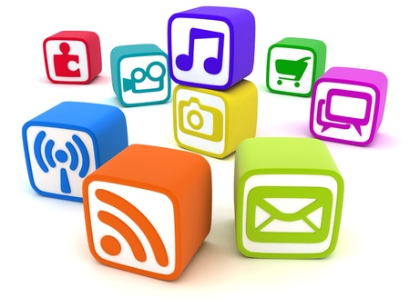 downloading content: Social Multimedia cube  done in 3d   Stock Photo