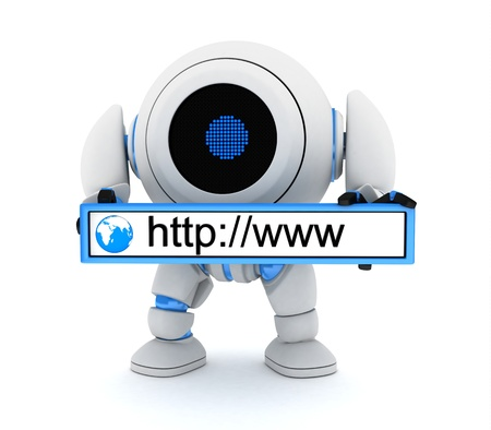 Robot and www address  done in 3d  Stock Photo - 14840495