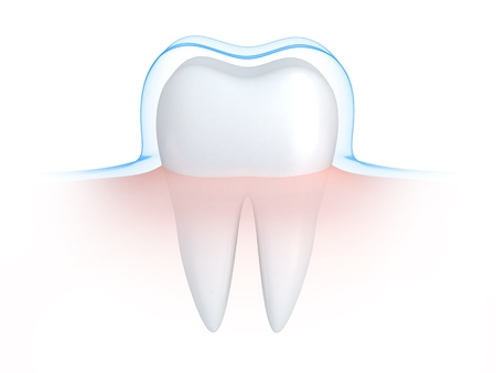 enamel: Tooth and blue shell   done in 3d  Stock Photo