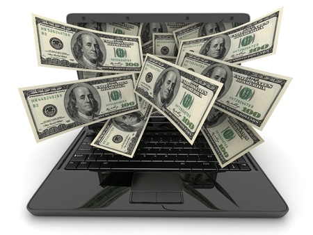money transfer: Black laptop and money