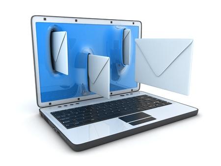 telegrama: Laptop y volar sobres (hecho en 3d) Foto de archivo
