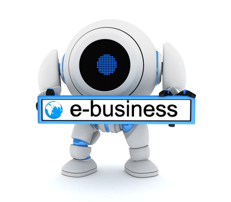 Robot and e-bussiness (done in 3d cgi) Stock Photo - 15390090