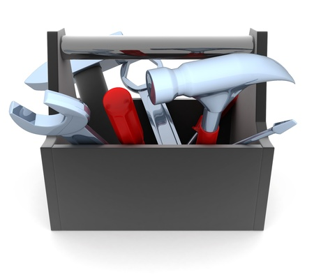 mending: Black Toolbox on white background  done in 3d